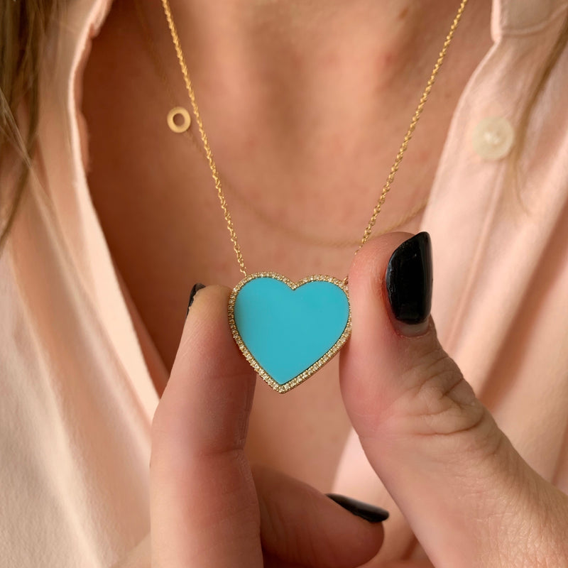 Diamond Turquoise Heart Necklace - 14k Yellow Gold