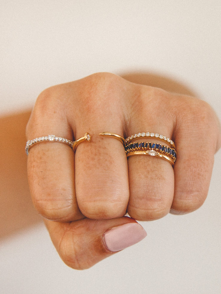 Bitsy Stack Ring with Marquise Diamond 14K