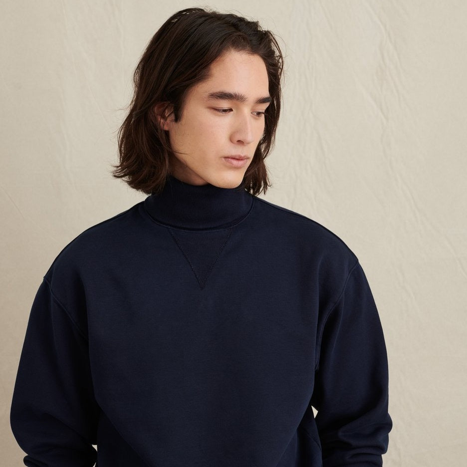 Fleece Turtleneck Sweatshirt, Dark Navy
