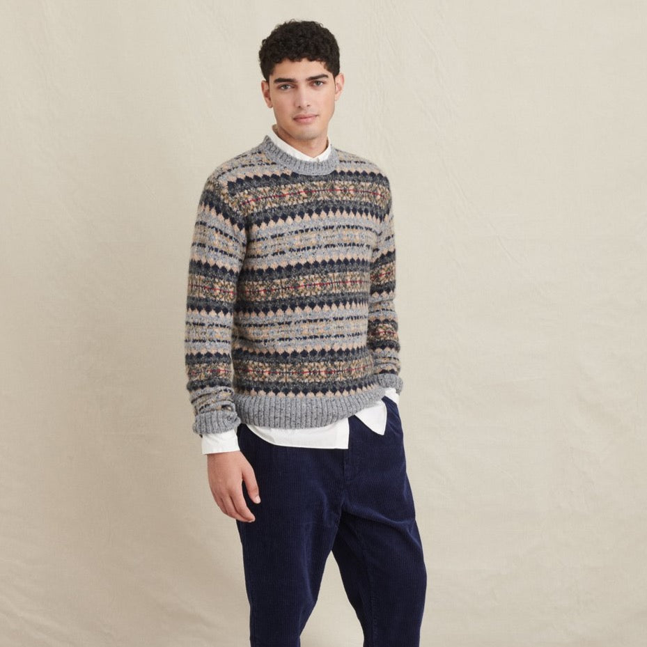 Diamond Fair Isle Sweater, Grey Fair Isle