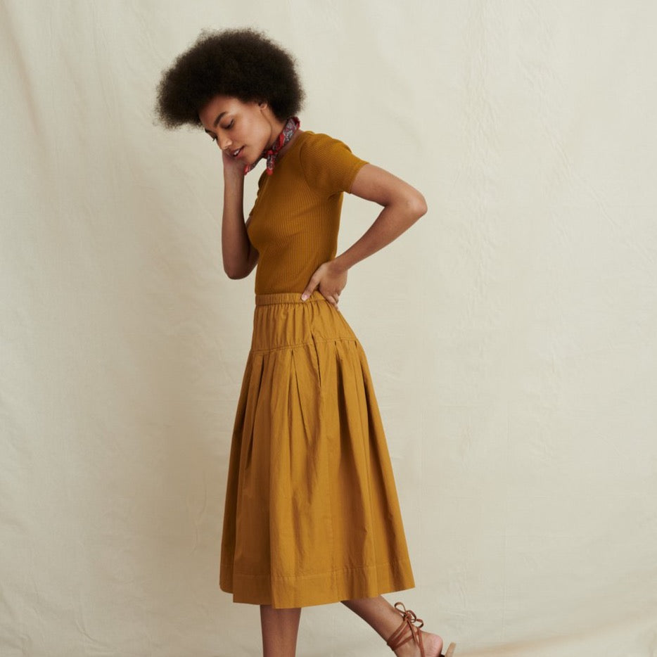 Women's Pull On Skirt in Paper Cotton, Caramel