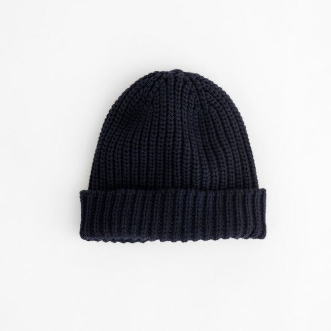 Garment Dyed Cotton Beanie, Dark Navy