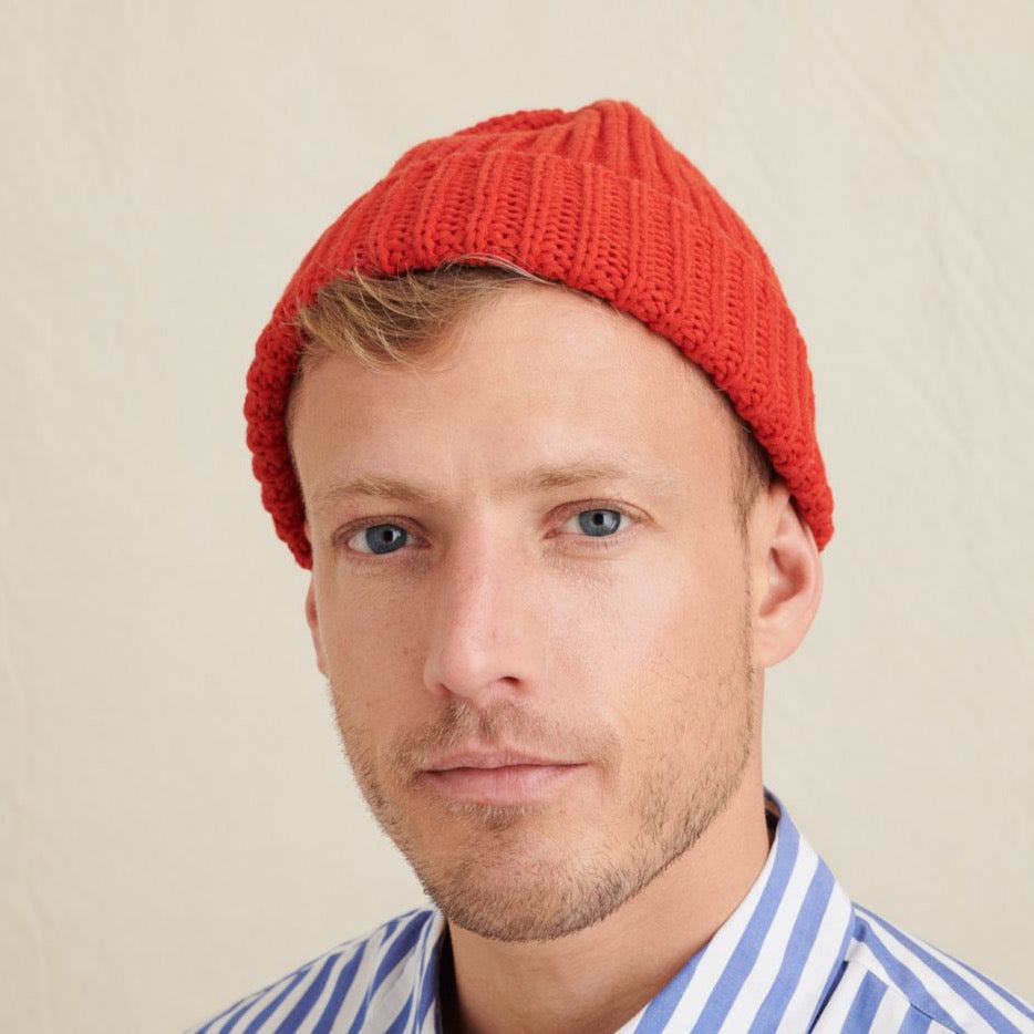 Garment Dyed Cotton Beanie, Chili