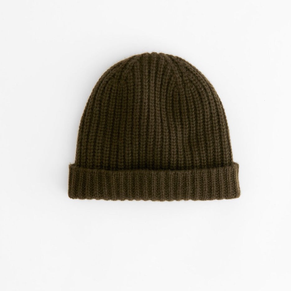 Cashmere Beanie, Heather Olive