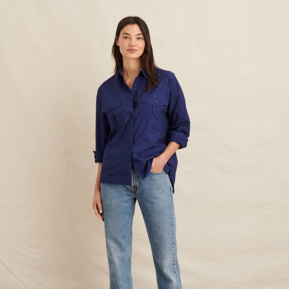 Women's Keeper Button Down Paper Cotton, Navy