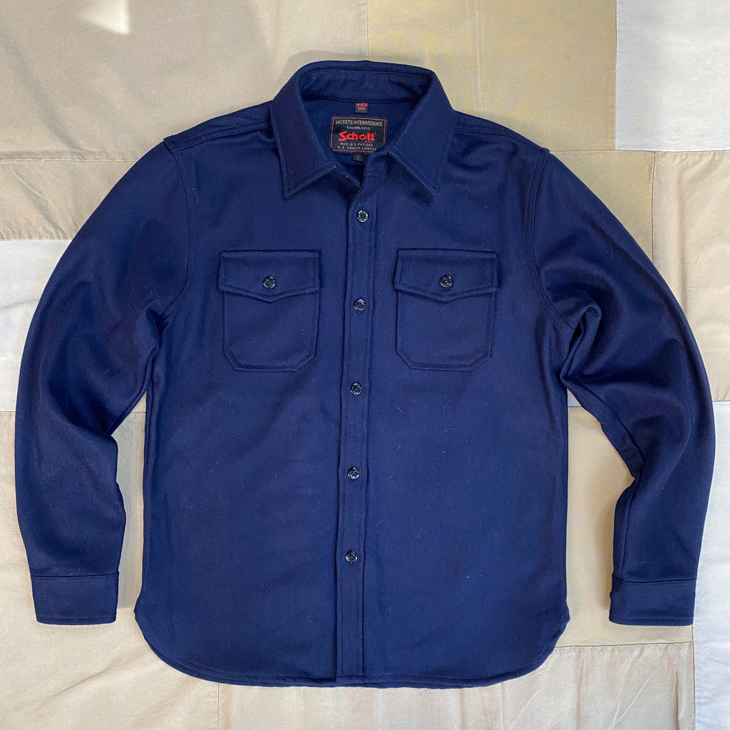 CPO Wool Button Down Shirt, Navy Blue