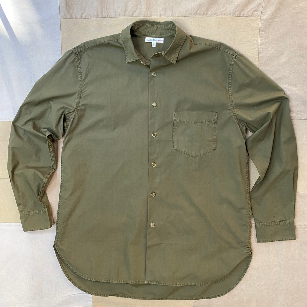 Easy Button Down Shirt in Paper Cotton, Olive