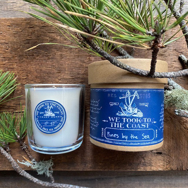 Pines by the sea Glass Candle By WTTTW