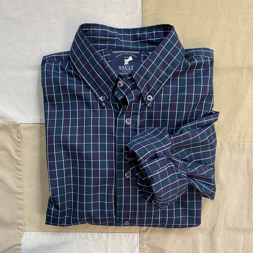 Makenzie Check Plaid Button Down Shirt, Purple/Green
