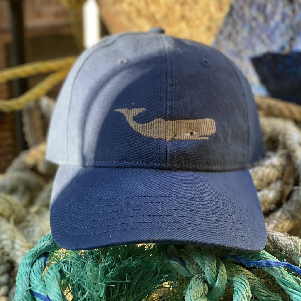Needlepoint Whale Hat, Navy