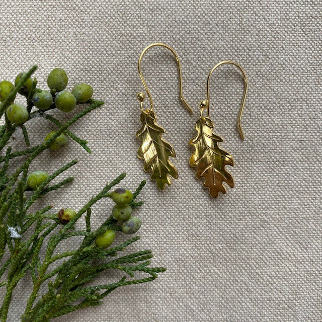 Oak Leaf Earrings, Gold