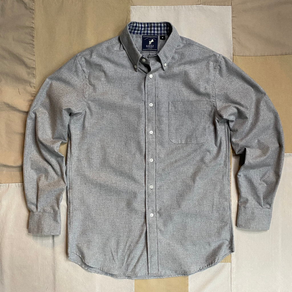 Button Down Collar Long Sleeve Flannel, Heather Grey