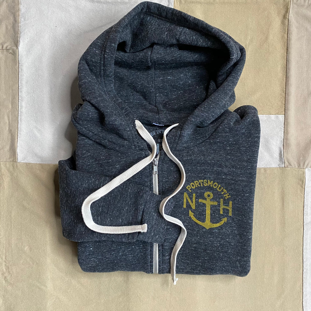 Portsmouth Anchor Zip Hoodie, Charcoal