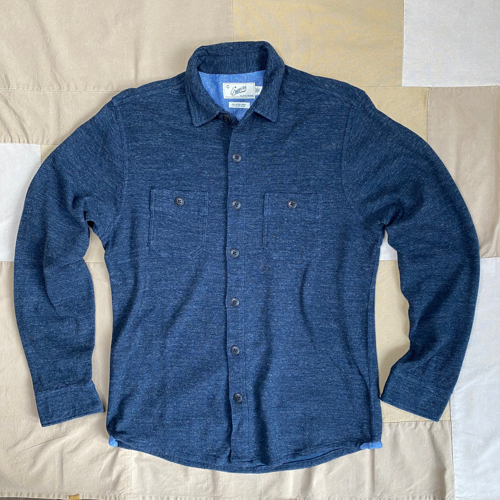 East End Double Cloth Shirt Jacket, Navy Heather