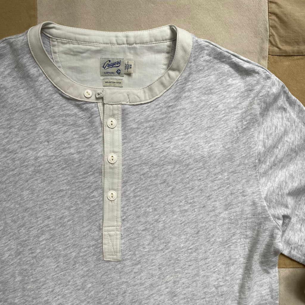 Long Sleeve Henley, Heather Grey