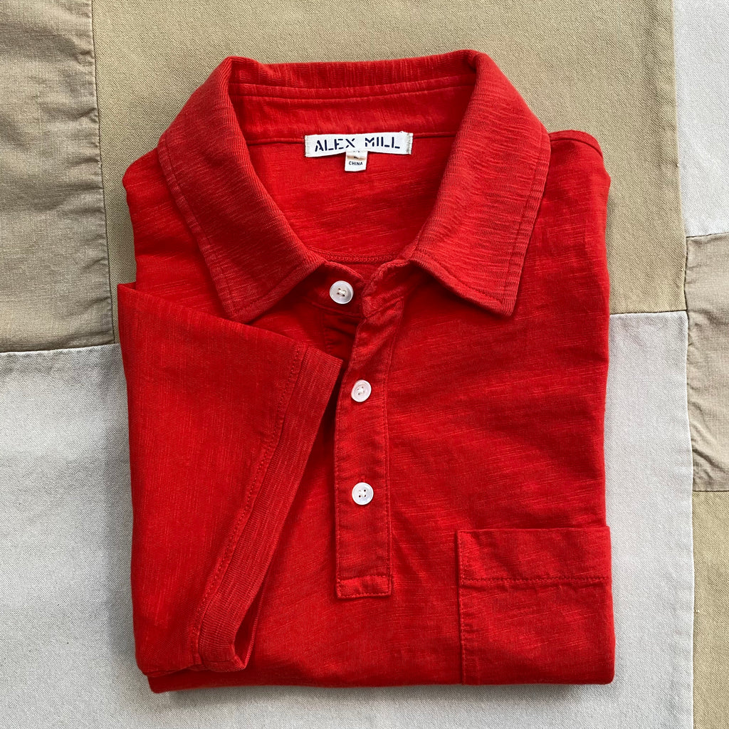 Standard Polo in Slub Cotton, Berry Red