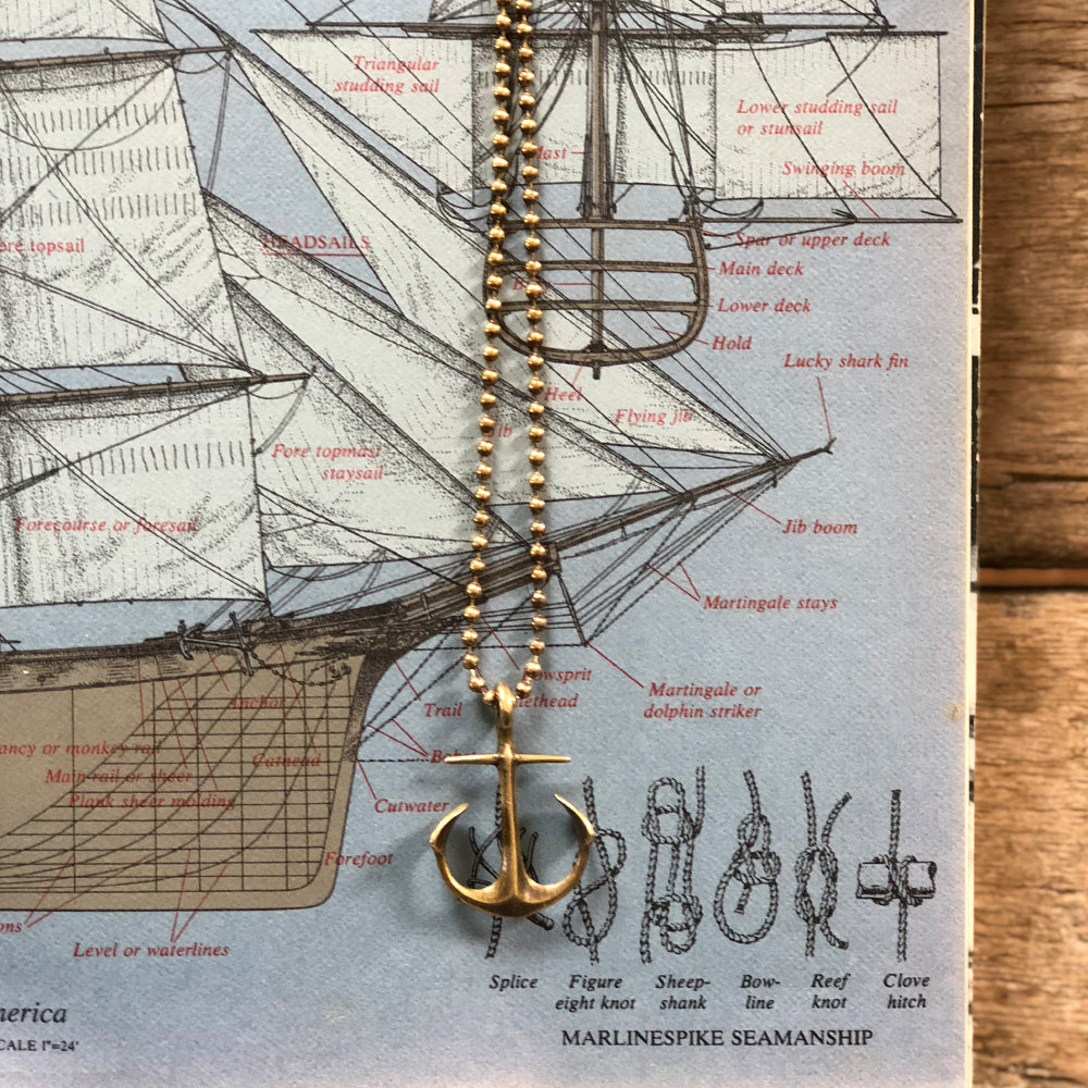 Anchor necklace, Ball chained, Nautical themed