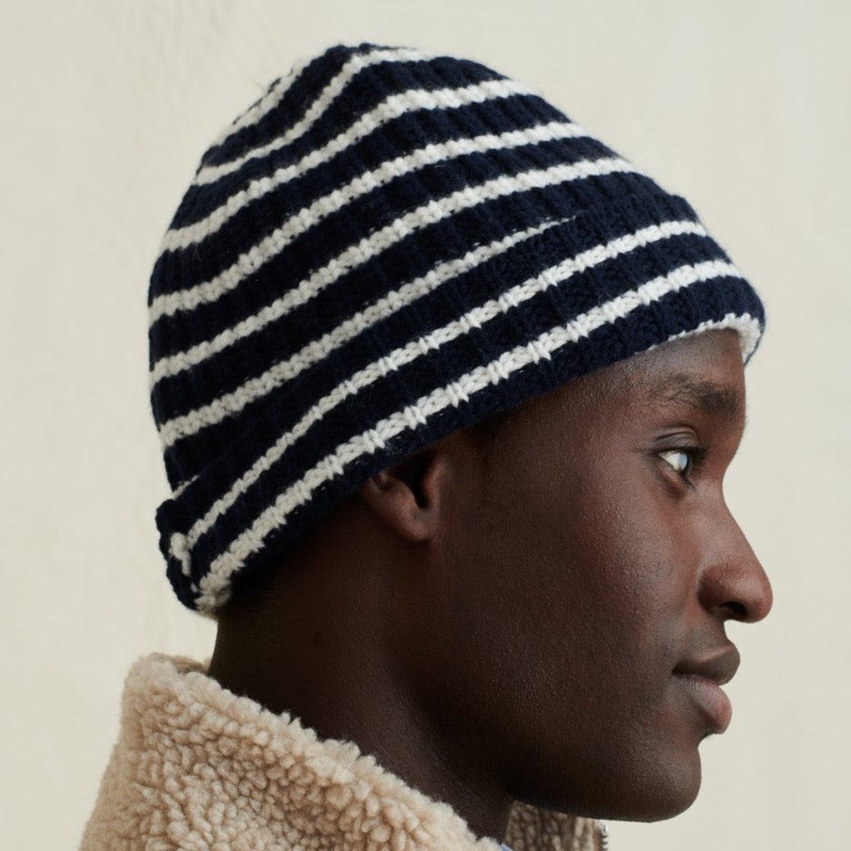 Cashmere Beanie, Navy/Chalk Stripes