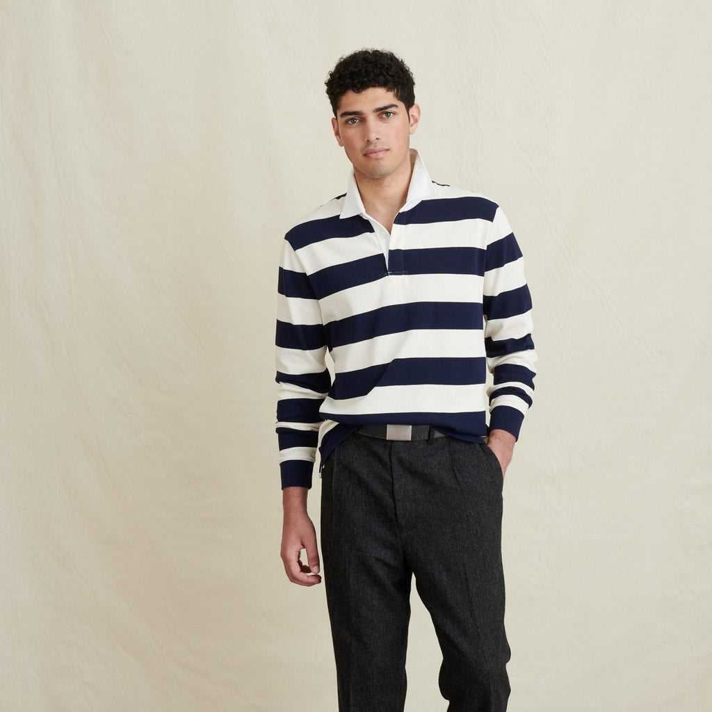Alex Mill Rugby, Grey and Dark Navy Stripe