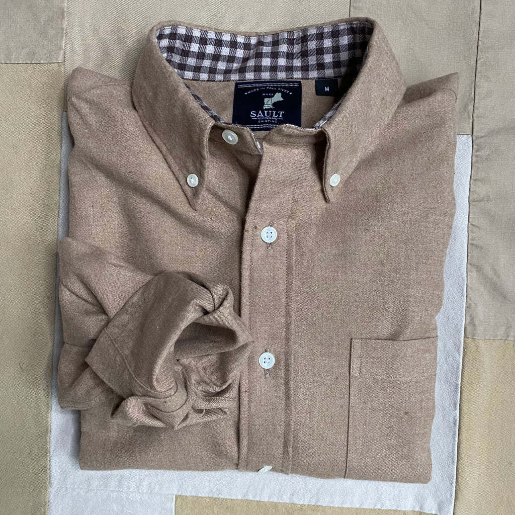 Button Down Collar Long Sleeve Flannel, Heather Camel