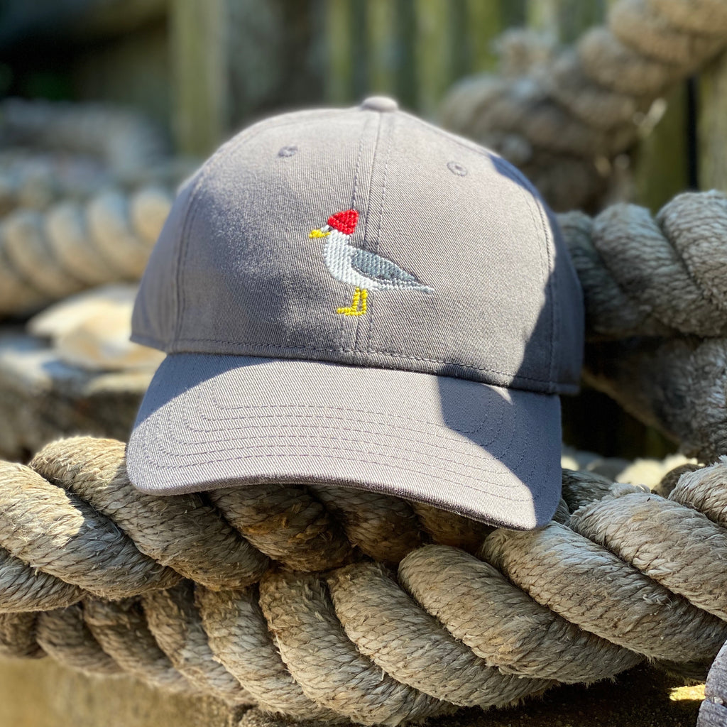 Seagull Needlepoint Hat, Dark Grey