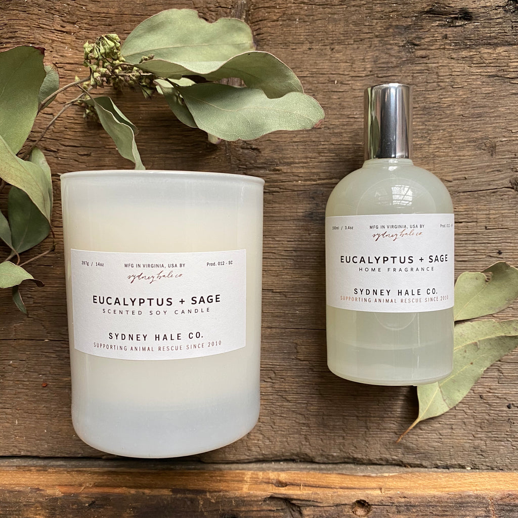 Candle or Room Spray, Eucalyptus + Sage, by Sydney Hale