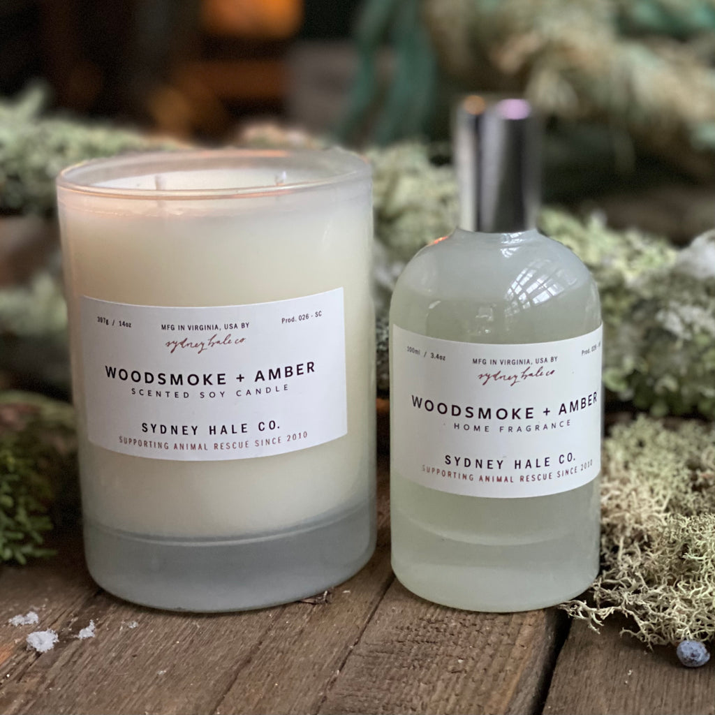 Woodsmoke + Amber Candle & Room Spray, by Sydney Hale
