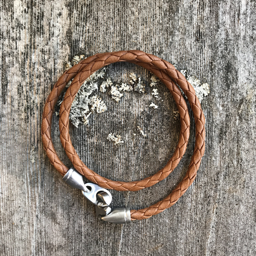 Catch Double Leather Rope with Silver Hardware