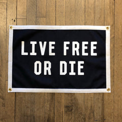 Live Free or Die Camp Flag Felt Banner Made in the USA