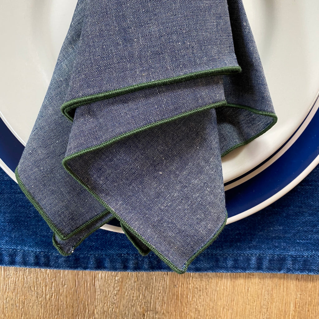 Chambray Napkin Merrow Edge, Sea Green