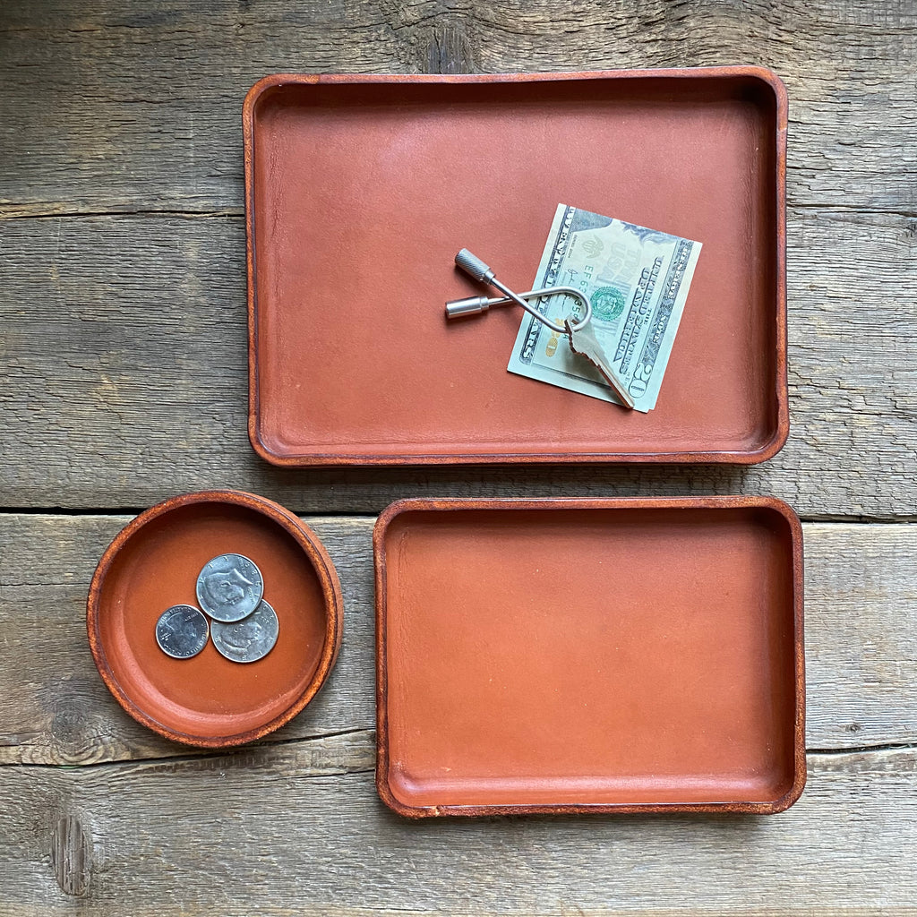 Leather Valet Catchall Trays, Chestnut