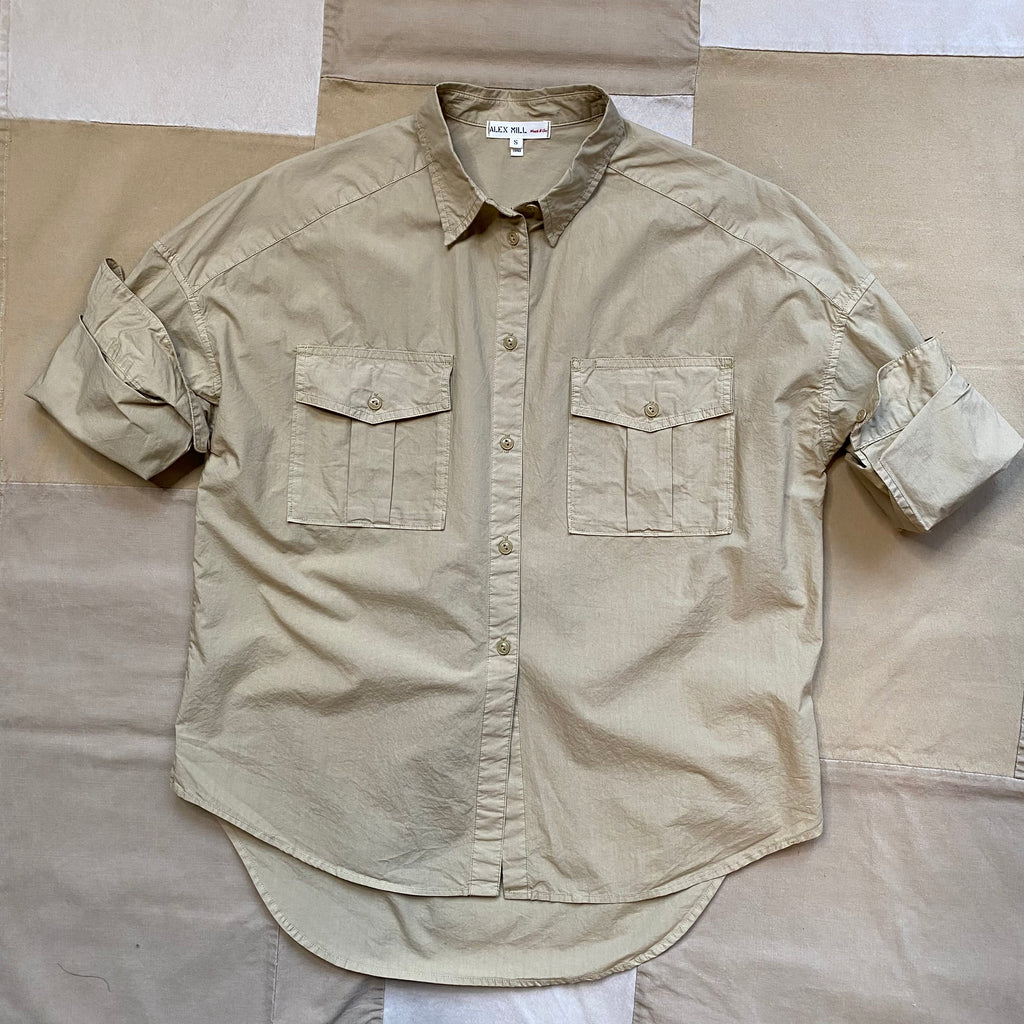 Women's Keeper Button Down Paper Cotton, Vintage Khaki