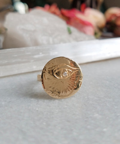 Eye of Love Medallion Ring