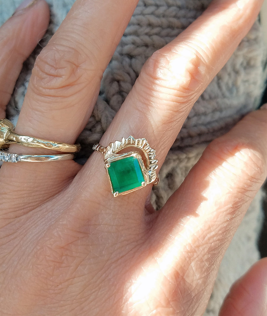 Radiant Heart Emerald Ring II