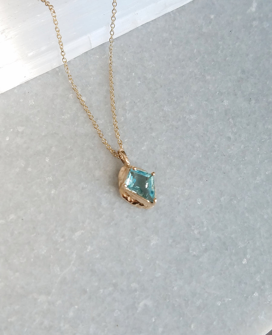 Petite Guardian Aquamarine Diamond Necklace