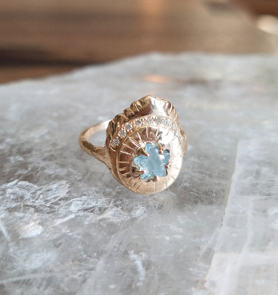 Love Aquamarine Star Ring