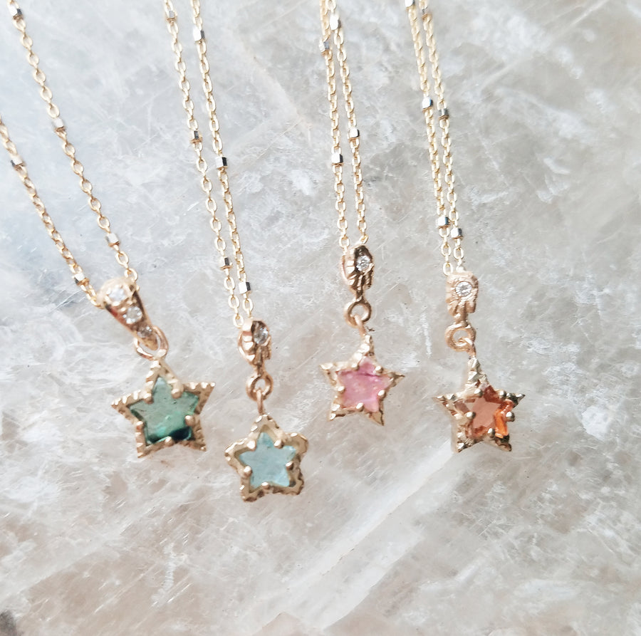 Tourmaline Green Star Necklace