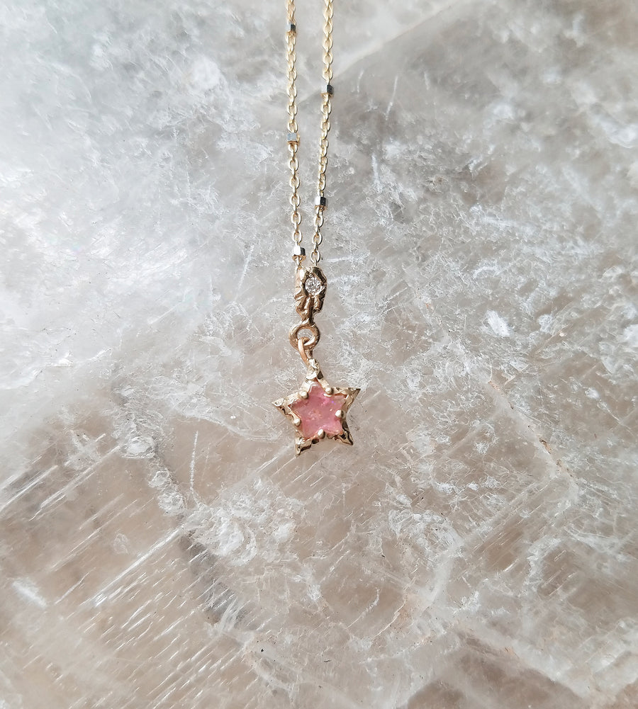 Tourmaline Rose Star Necklace