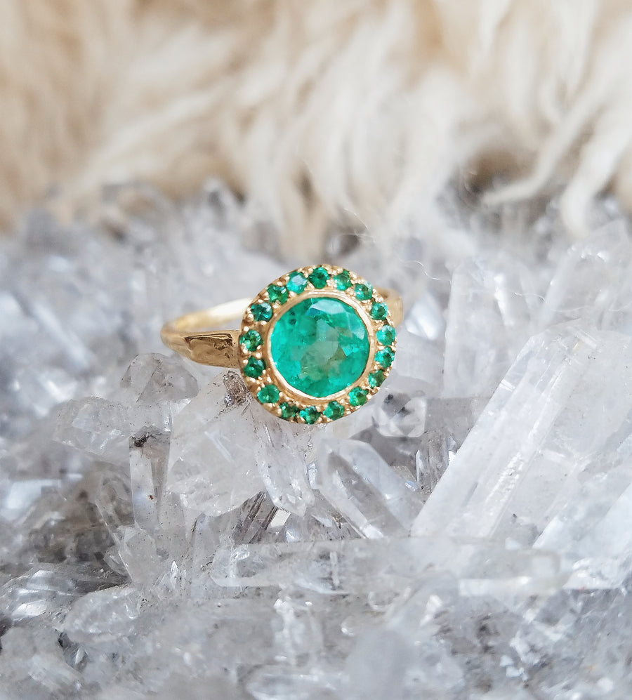 Guardian Halo Emerald Ring