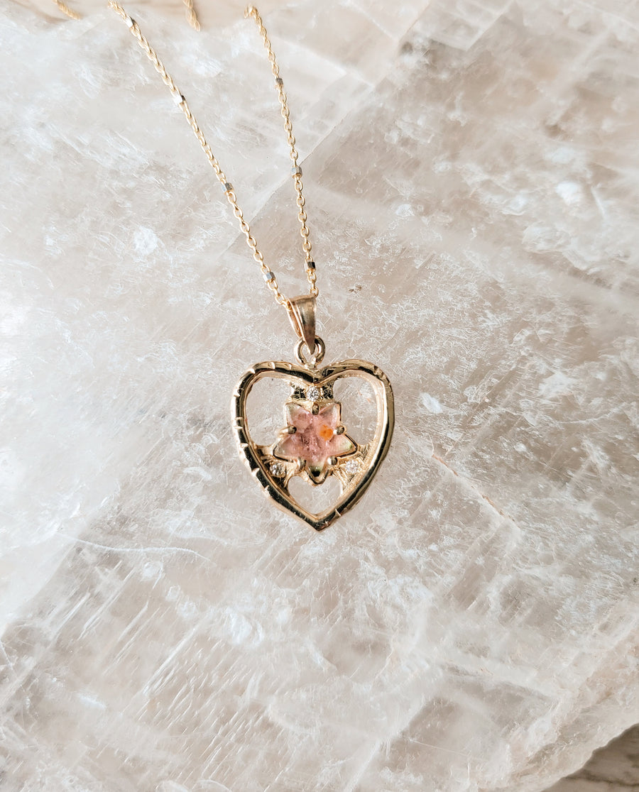 Guardian Heart Pink Star Necklace