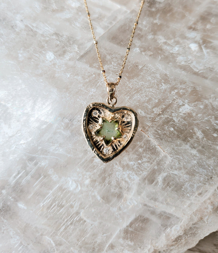 Guardian Heart Green Star Necklace