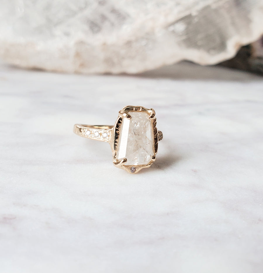 Rustic Diamond Pillar Light Ring