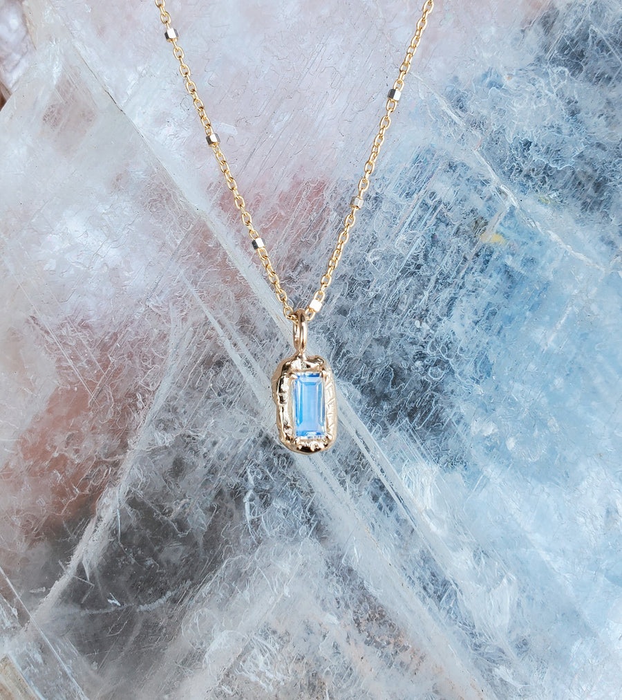 Guardian Baguette Moonstone Necklace  - One of Kind
