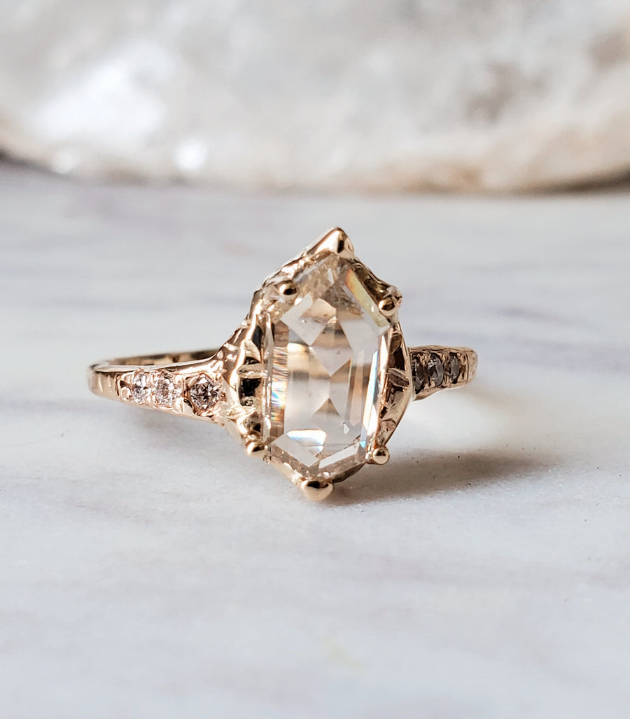 Shield Champagne Rosecut Diamond Ring