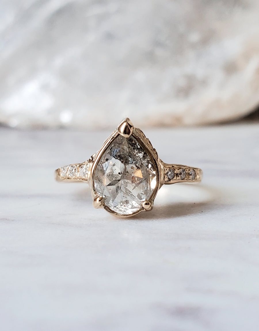 Queen Pear Rustic Diamond Ring