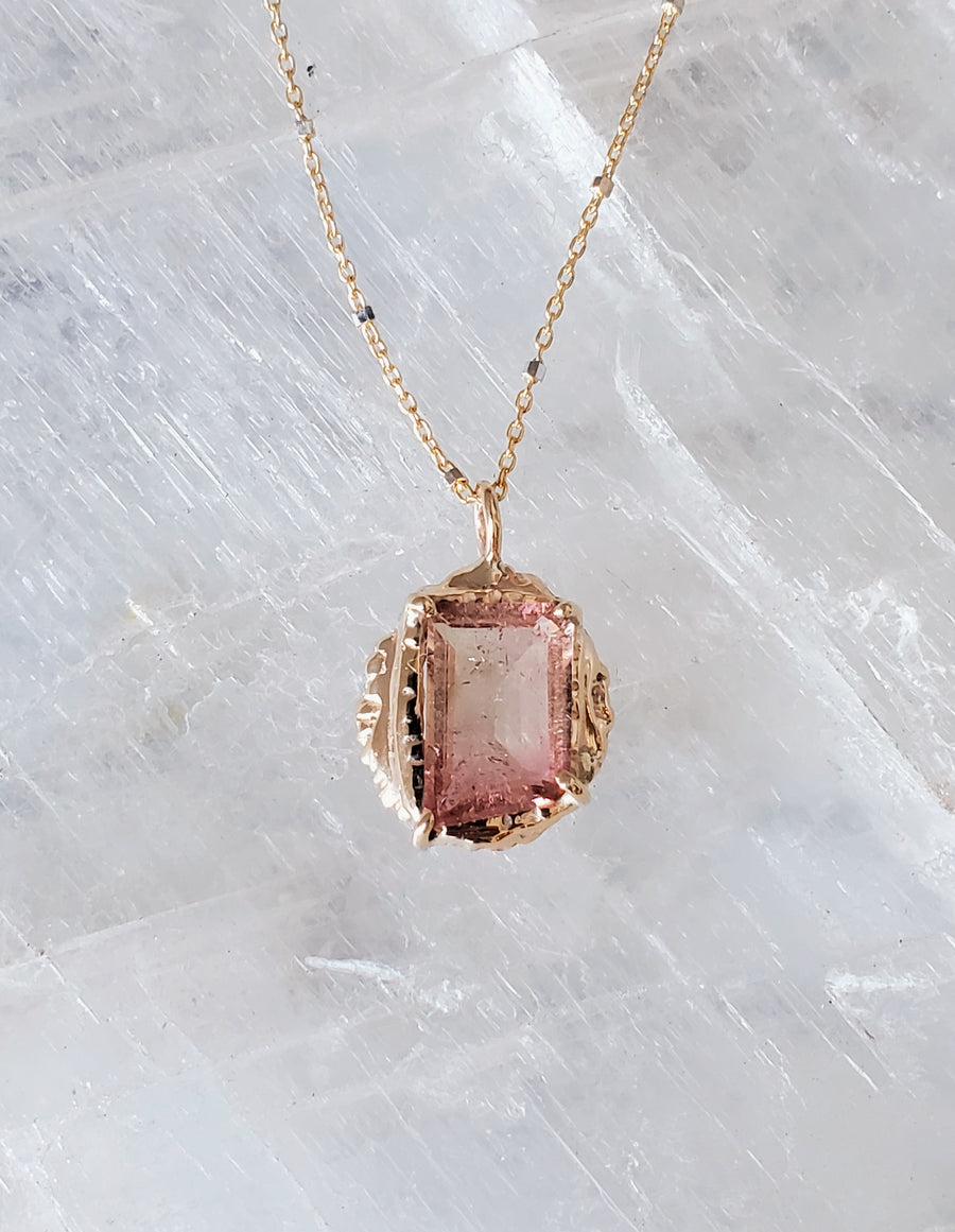 Guardian Sunset Tourmaline Shield Necklace