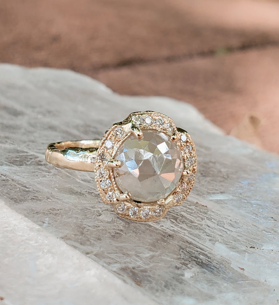Icy White Rustic Diamond Star Ring