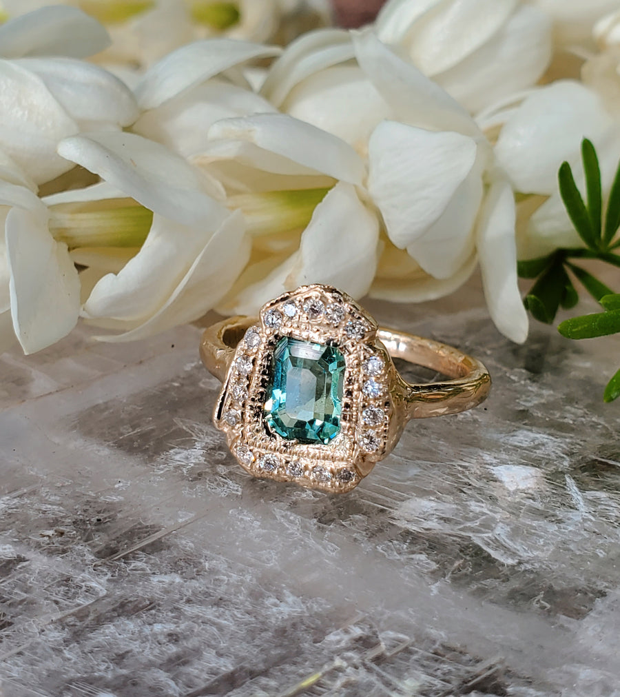 Blue Green Tourmaline Empress Ring