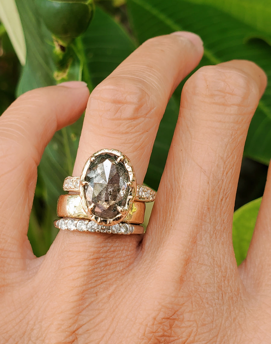 Guardian Queen Salt & Pepper Rustic Diamond Ring