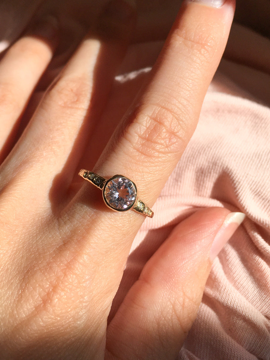 Guardian Morganite Solitaire Bezel Ring